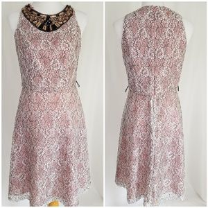 Lovely Adrianna Papell Pink Jeweled Dress size 8